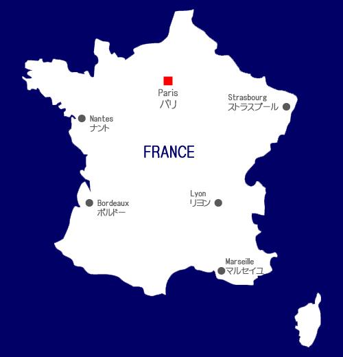フランス地方主要5拠点リヨン・マルセイユ・ボルドー・ナント・ストラスブール配置図